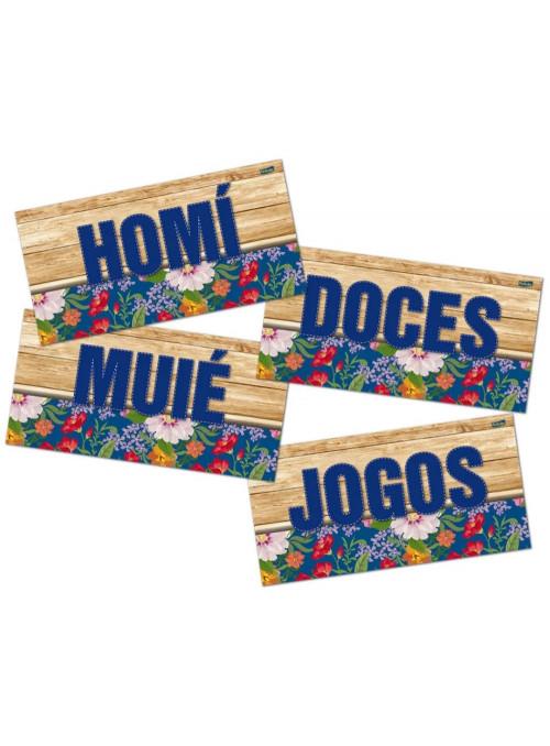 Placas Informativas Sortidas Festa Junina Arraiá Festcolor 8 Unidades