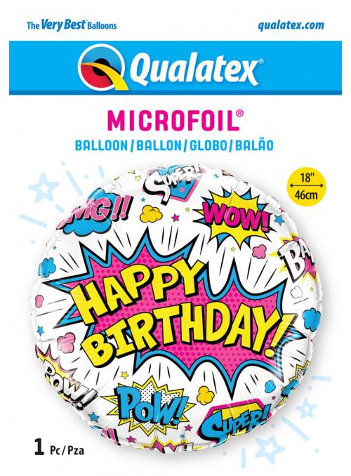 Balão Metalizado Aniversário Super Herói Branco 18 Polegadas 46cm Qualatex
