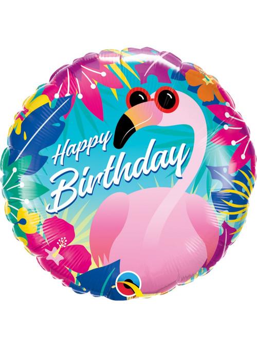 Balão Metalizado Aniversário Flamingo Tropical 18 Polegadas 46cm Qualatex