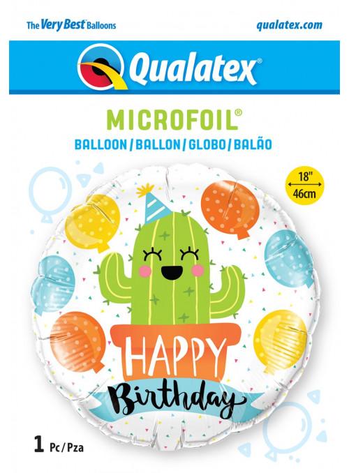 Balão Metalizado Festa de Aniversário Cactos 18 Polegadas 46cm Qualatex