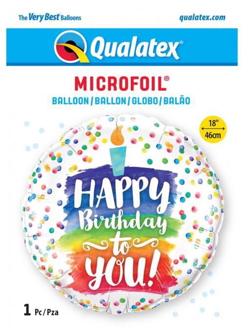 Balão Metalizado Bolo Parabéns a Você 18 Polegadas 46cm Qualatex