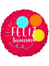 Balão Metalizado Feliz Aniversário Vermelho 18 Polegadas 45cm Cromus Balloons