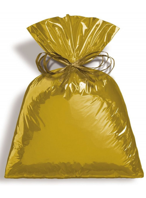 Saco para Presente Dourado Metálico 30cm x 44cm Cromus 50 Unidades