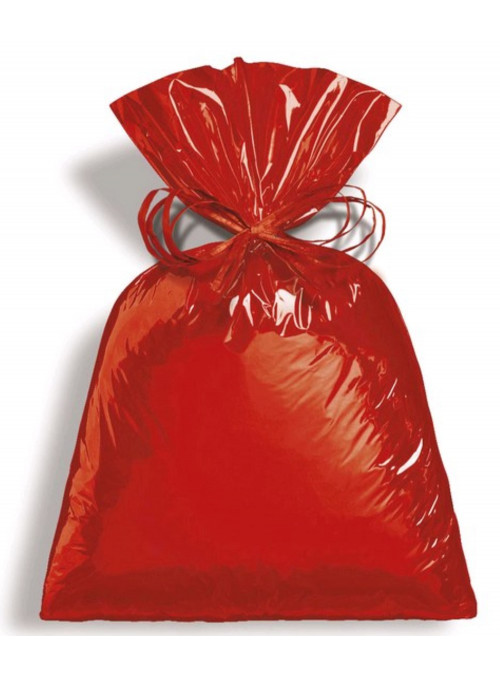 Saco para Presente Vermelho Metálico 30cm x 44cm Cromus 50 Unidades