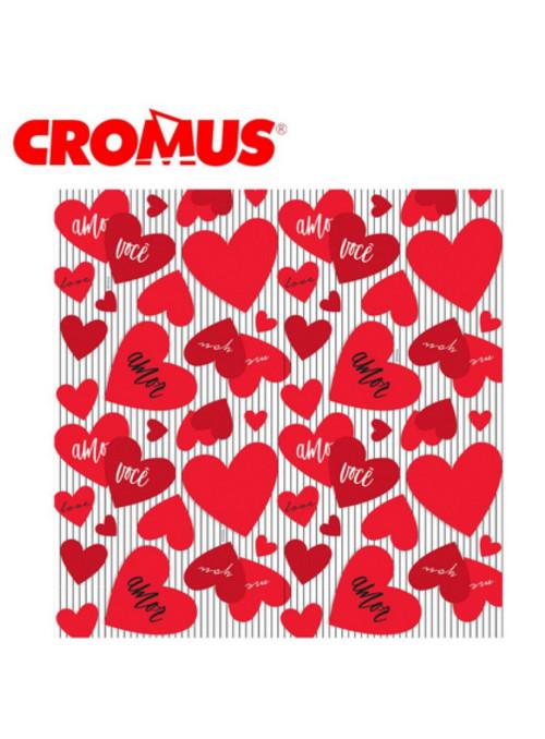 Saco para Presente Amo Você 35cm x 54cm Cromus 50 Unidades