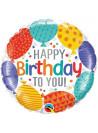 Balão Metalizado Balões de Parabéns a Você 18 Polegadas 46cm Qualatex