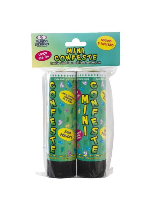 Lança Mini Confetes Coloridos Crepom 15cm Lança até 3m no Ar 2 Unidades