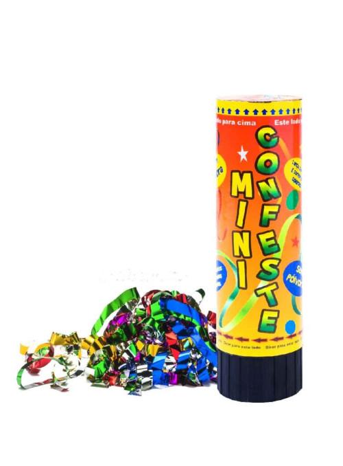 Lança Mini Confetes Coloridos Laminados 15cm Lança até 3m no Ar