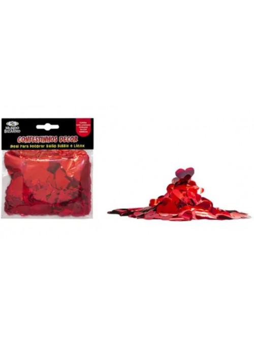 Confetes Decor Coração Vermelho para Balão e Decoração 25 gramas Mundo Bizarro