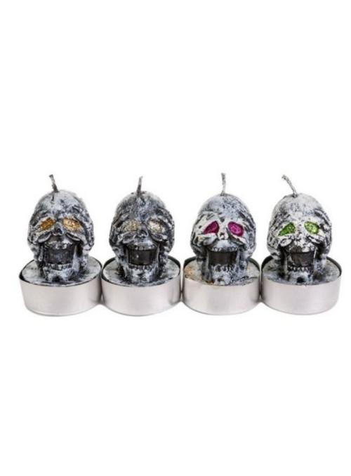 Vela Decorativa Festa Halloween Caveiras Sortidas Silver Festas 4 Unidades