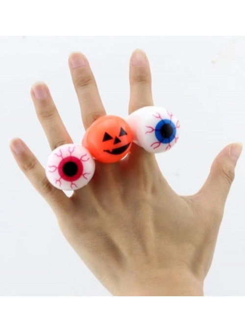 Anel Pisca Pisca Festa Halloween Abóbora ou Olho 1 Unidade