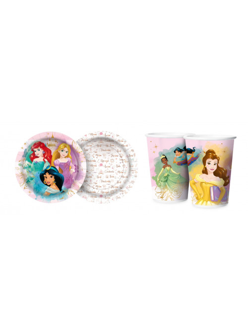 Prato e Copo de Papel Festa Princesas Disney Regina Festas 12 Unidades de Cada