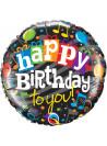 Balão Metalizado Aniversário Parabéns a Você 18 Polegadas 46cm Qualatex