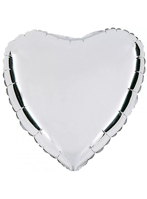Balões Metalizados Coração Prata - 10 Unidades