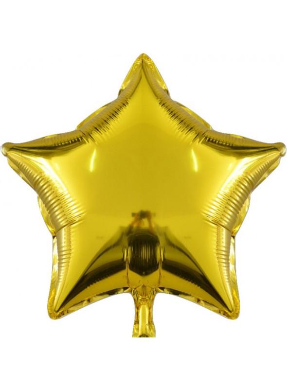 Balões Metalizados Estrela Dourada - 10 Unidades