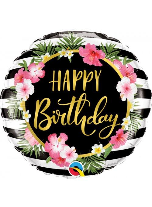 Balão Metalizado Happy Birthday Tropical