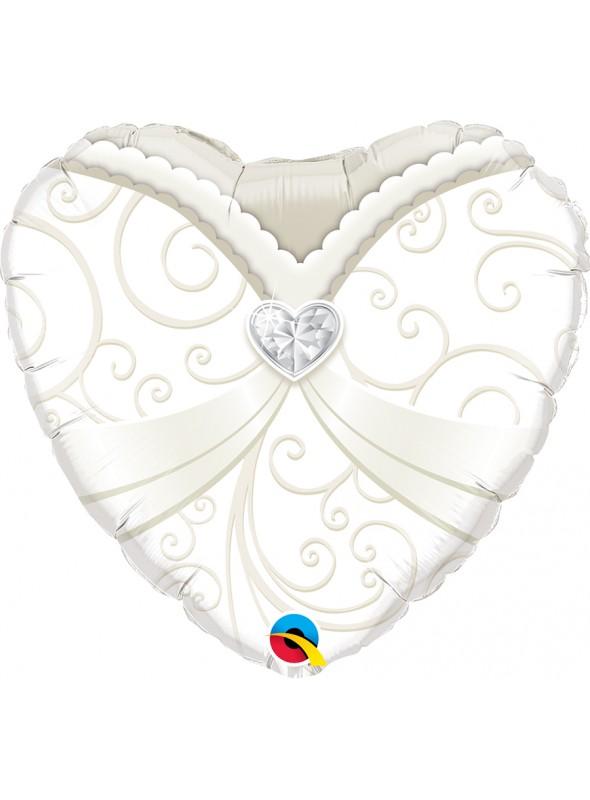 Balão Metalizado Coração Vestido de Noiva