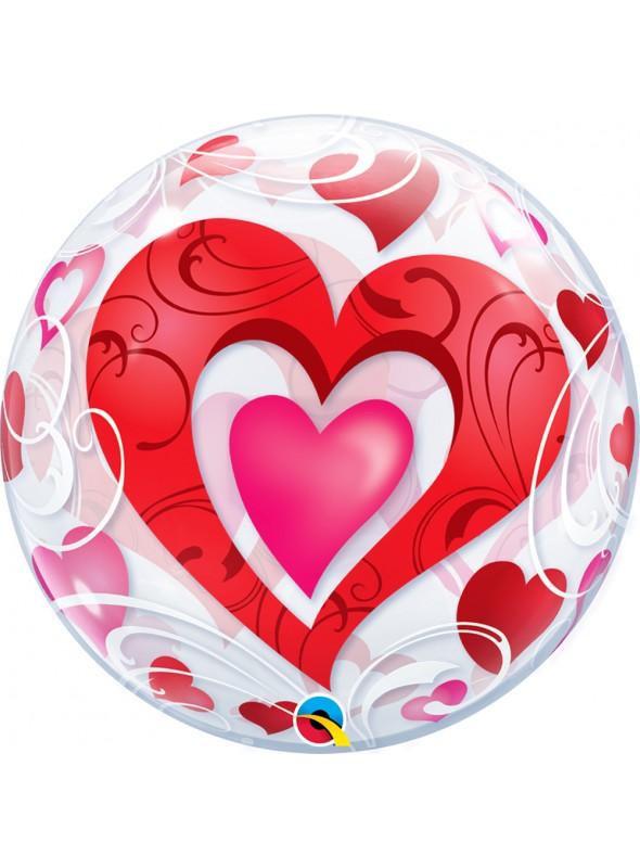 Balão Bubble Transparente Corações Vermelhos