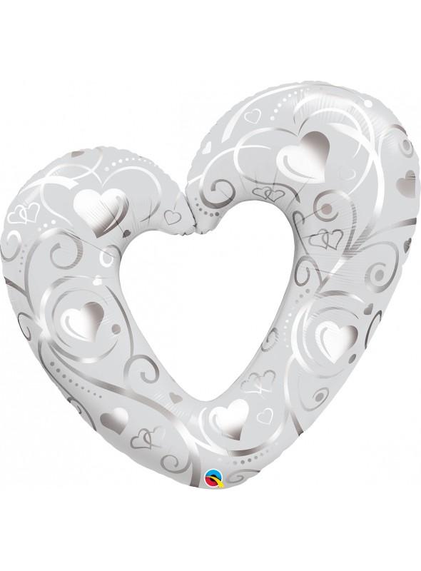 Balão Metalizado Corações Prata