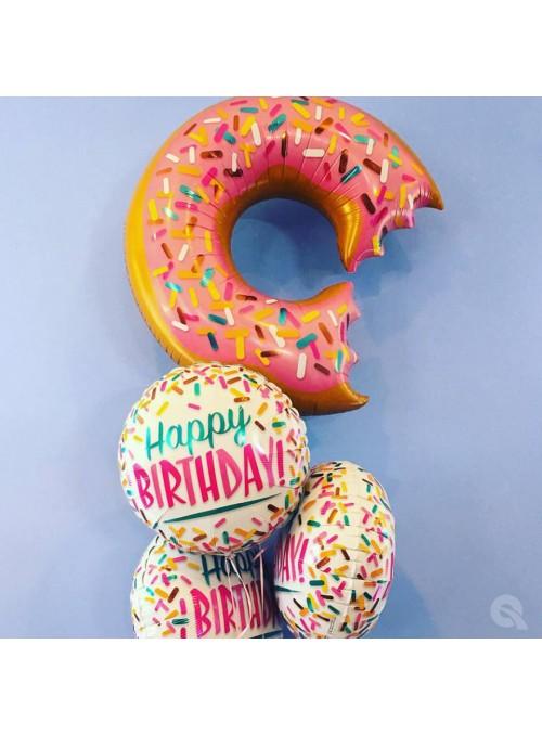 Balão Metalizado Happy Birthday Donuts