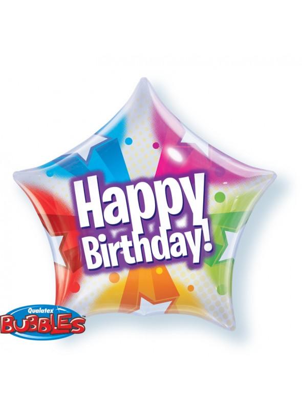 Balão Bubble Aniversário Estrela