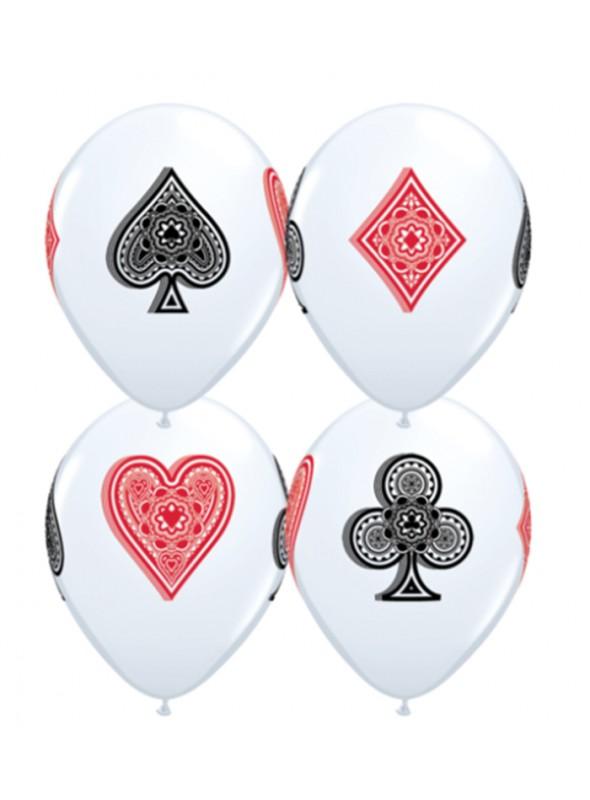 Balões De Látex Naipes de Baralho - 10 Unidades