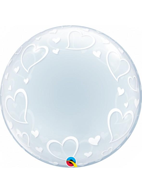 Balão Bubble Deco Transparente Corações – 1 unidade