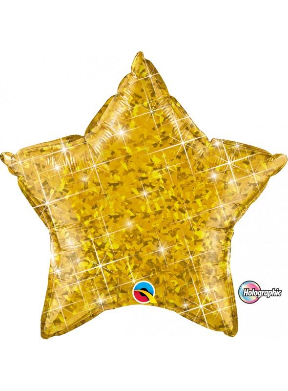Balão Metalizado Estrela Holográfica Dourada - 1 unidade