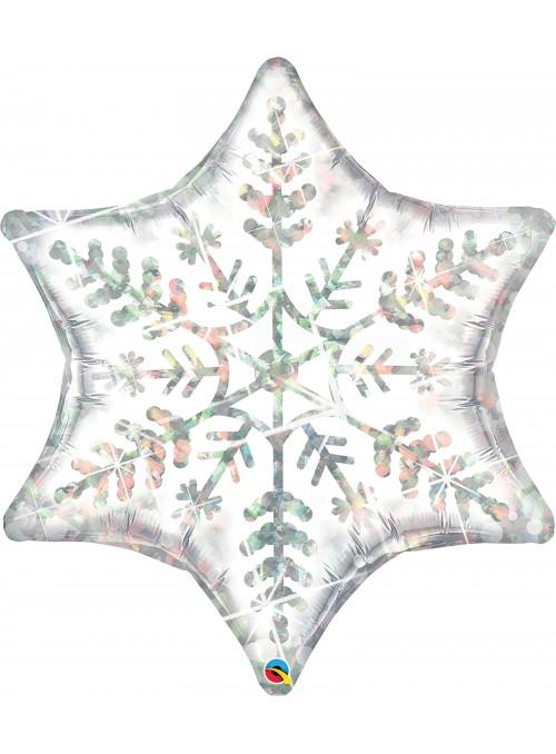 Balão Metalizado Estrela Flocos de Neve - 1 unidade