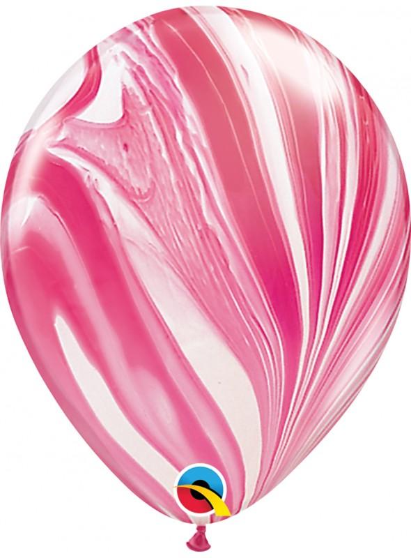 Balões de Látex Marmorizado Vermelho e Branco – 5 unidades