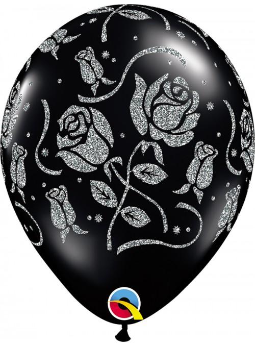 Balões De Látex Preto com Rosas Glitter – 10 unidades