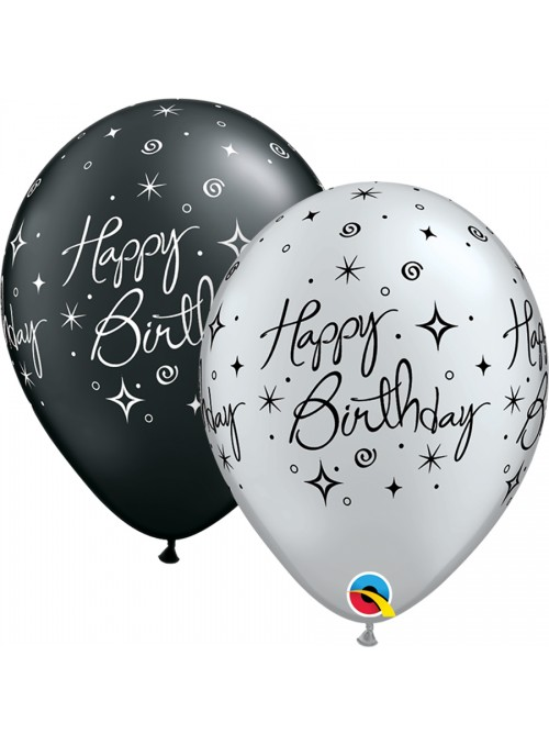 Balões De Látex Happy Birthday Faíscas - 10 Unidades