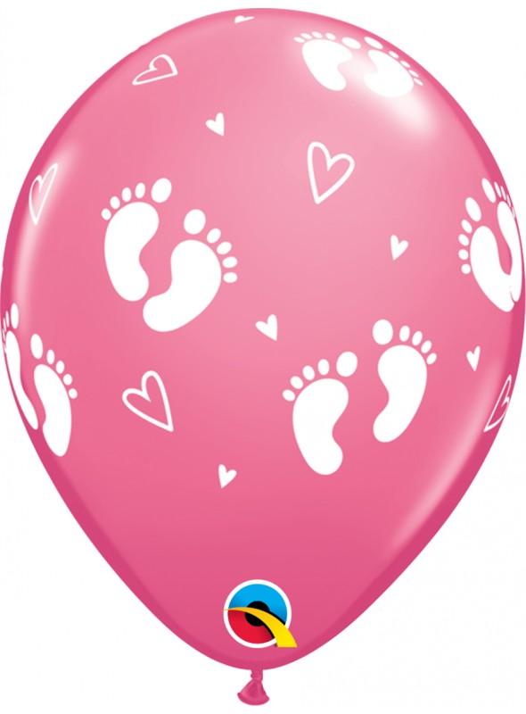Balões De Látex Pegadas de Bebê Menina- 10 Unidades