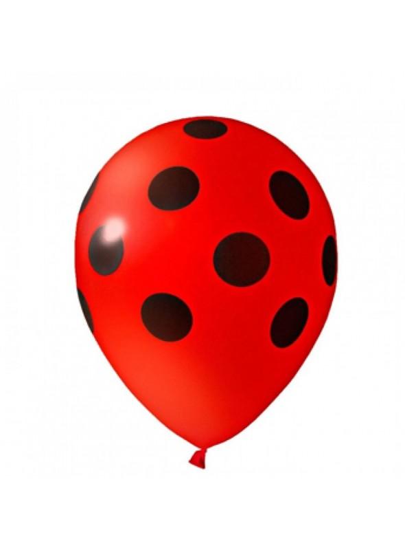 Balões De Látex Bolinhas Vermelho e Preto - 25 Unidades