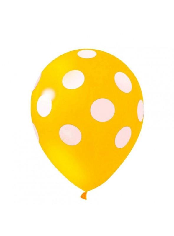Balões De Látex Bolinhas Amarelo e Branco - 25 Unidades