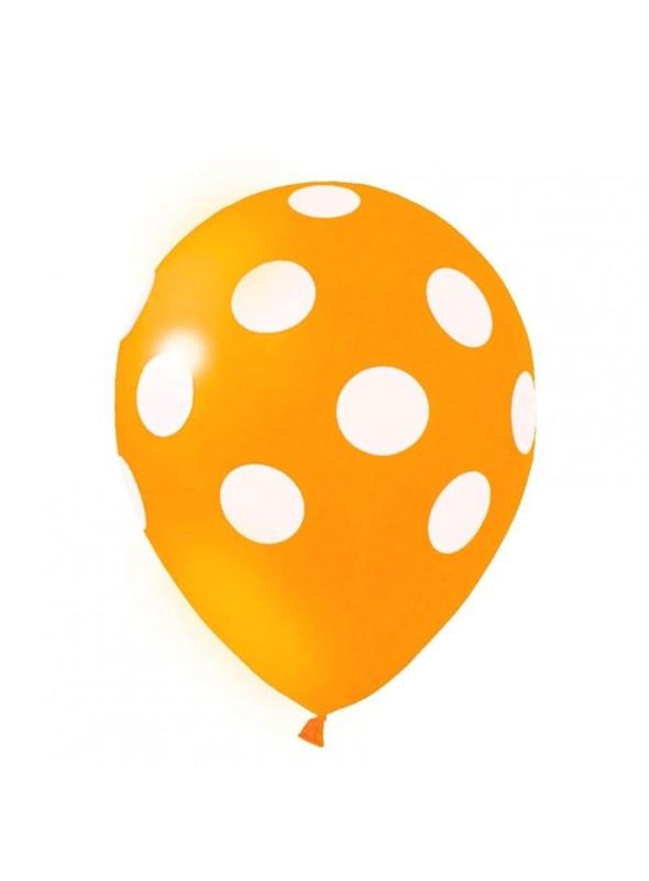 Balões De Látex Bolinhas Laranja e Branco - 25 Unidades