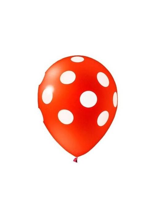 Balões De Látex Bolinhas Vermelho e Branco - 25 Unidades