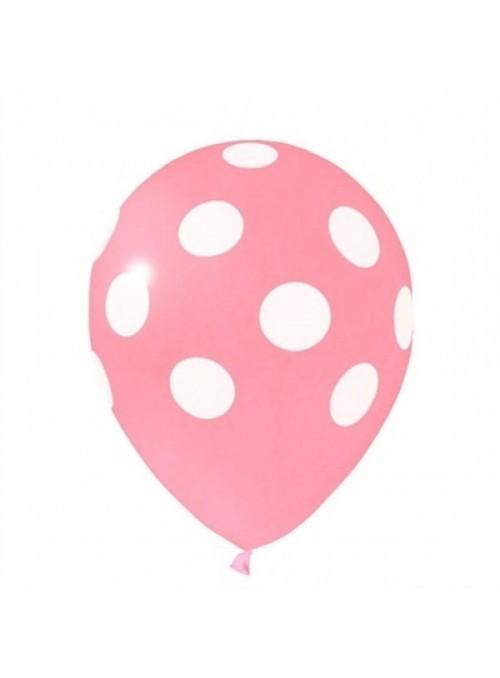 Balões De Látex Bolinhas Rosa Bebê e Branco - 25 Unidades