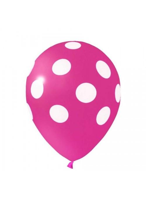 Balões De Látex Bolinhas Rosa e Branco - 25 Unidades