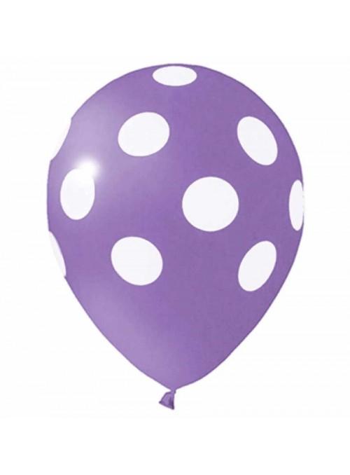 Balões De Látex Bolinhas Lilás e Branco - 25 Unidades