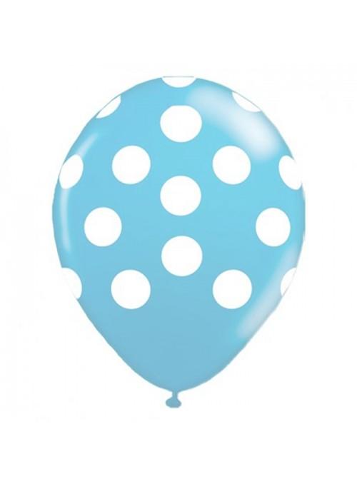 Balões De Látex Bolinhas Azul Claro e Branco - 25 Unidades