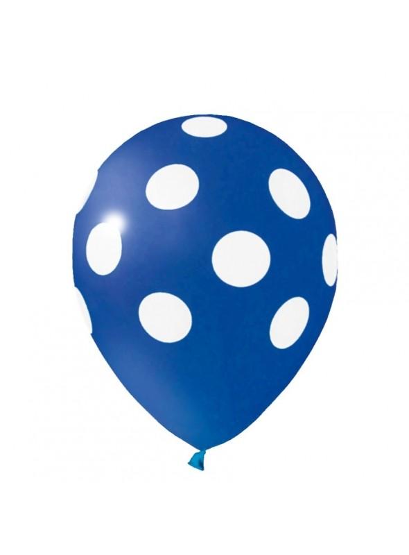 Balões De Látex Bolinhas Azul e Branco - 25 Unidades