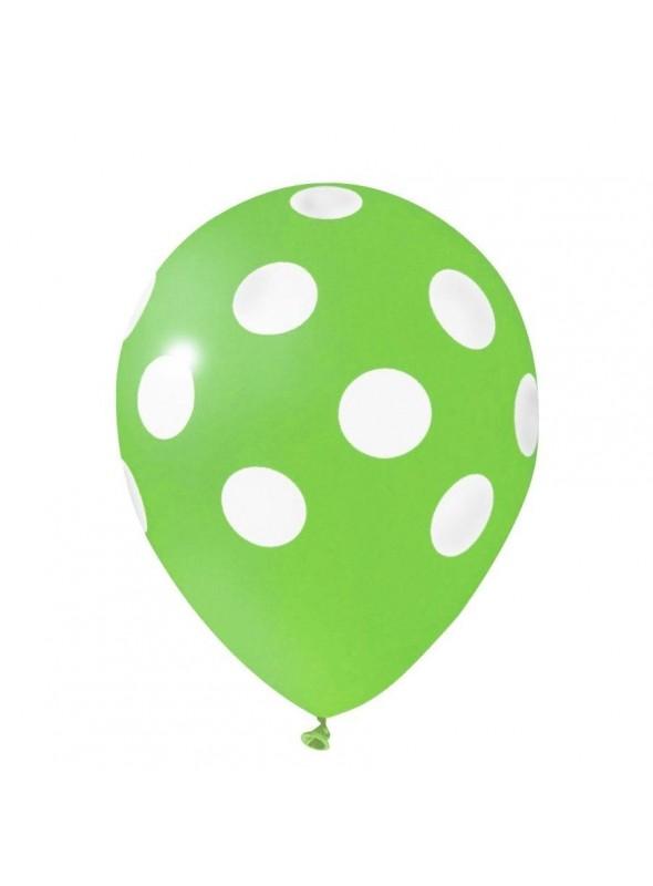 Balões De Látex Bolinhas Verde Claro e Branco - 25 Unidades
