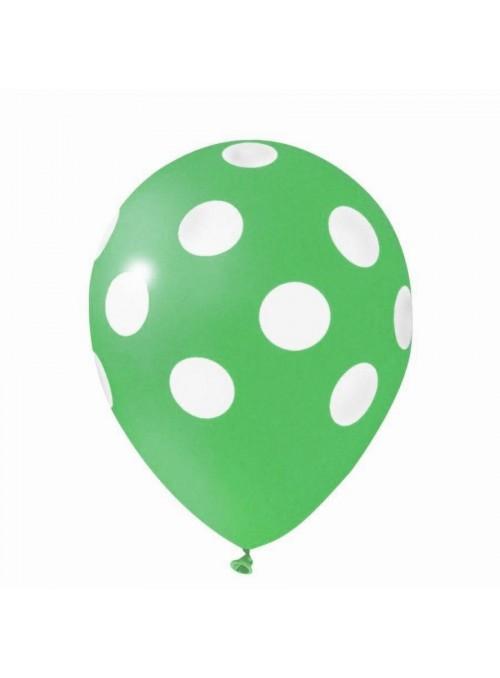 Balões De Látex Bolinhas Verde Escuro e Branco - 25 Unidades