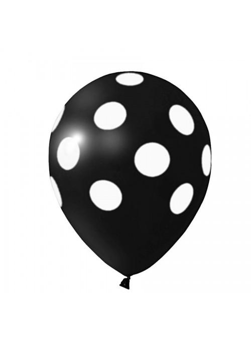 Balões De Látex Bolinhas Preto e Branco - 25 Unidades