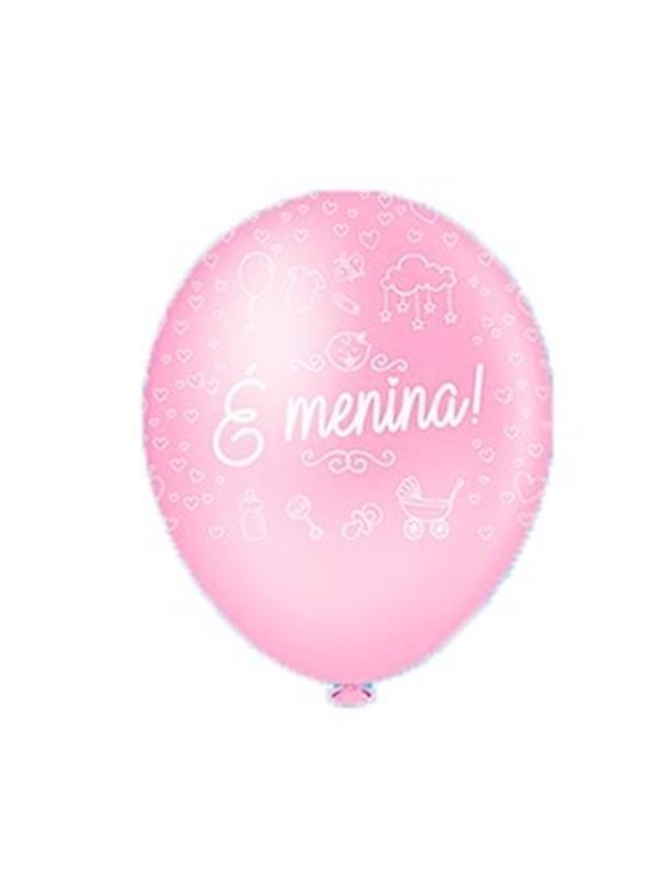 Balões De Látex É Menina- 25 Unidades