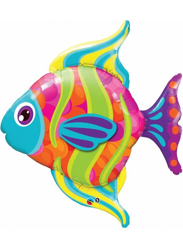 Balão Metalizado Peixe Colorido – 1 unidade