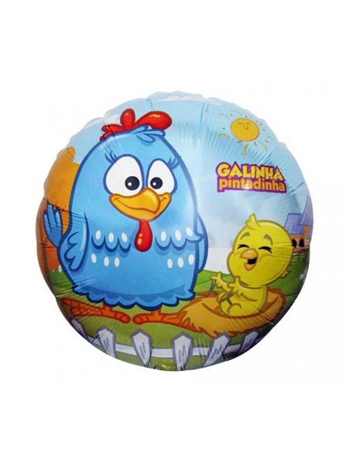 Balão Metalizado Redondo Galinha Pintadinha -1 Unidade