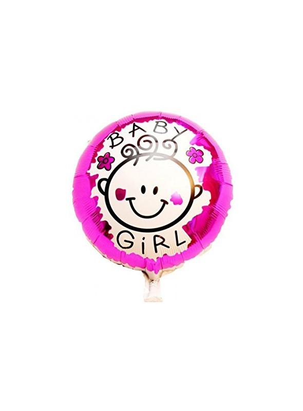 Balão Metalizado Redondo Baby Girl - 1 Unidade