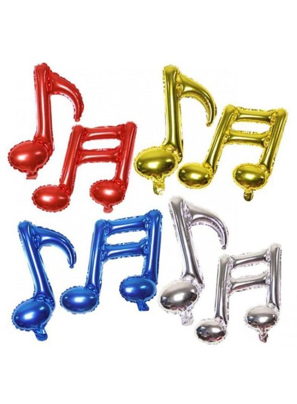 Balões Metalizados Notas Musicais - 6 Unidades